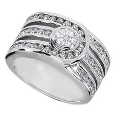 1.29 Carat Round Diamond Bezel and Channel Split Band Ring