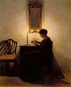 Mujer leyendo a la luz de la vela de Peter Listed