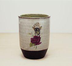 Handmade Chihuahua gift, Pottery cup, Chihuahua wearing gold tiarra, Chihuahua lover tumber
