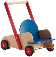 Wooden walker wagon by HABA. You can adjust the speed on the front wheels, good for babies who are learning to walk. Has a seat and storage area for baby's favorite toys.