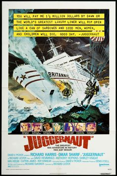 A sentimental excursion becomes a voyage from hell when a disgruntled explosives expert targets a luxury liner in this white-knuckler that stars Omar Sharif, Richard Harris and Anthony Hopkins. Classic Movie Posters, Original Movie Posters, Movie Poster Art, Classic Movies, Juggernaut Movie, Shirley Knight, Disaster Movie, Sir Anthony Hopkins, Adventure Of The Seas