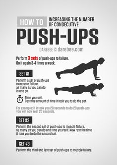 A push-up (or press-up) is a common calisthenics exercise performed in a prone position by raising and lowering the body using the arms. Push-ups exercise the pectoral muscles, triceps, and anterior. Push Up Workout, Gym Workout Tips, At Home Workout Plan, At Home Workouts, Monthly Workouts, Workout Schedule, Navy Seal Workout, Fitness Workouts, Fitness Tips