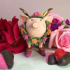 Happy as a pig in...roses! For Valentine's Day, or any day. #Roses #Valentines https://www.patiencebrewster.com/rose-flying-pig-ornament/?utm_content=bufferbed21&utm_medium=social&utm_source=pinterest.com&utm_campaign=buffer
