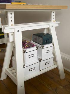 Ikea LINNMON/ FINNVARD table, used as craft table.
