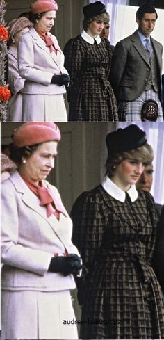 September 4, 1982: Prince Charles & Princess Diana & Queen Elizabeth II in the Royal Pavilion at the Braemer Games, Scotland.