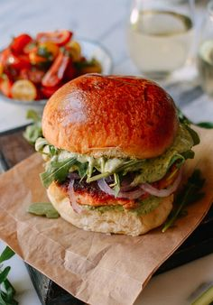 Green Goddess Salmon Burgers, by thewoksoflife.com