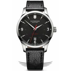 Victorinox Swiss Army Alliance Mechanical 40mm Leather Strap Black Dial Automatic Watch 241668 - #OCWatchCompany #SwissArmy #WatchStore #WalnutCreek