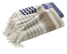 Cotton Woven Stripe Throw #WilliamsSonoma  The blue striped one seems like a good fit for a coastal/cool blues theme.