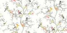 Bird Watch White (97892) - Albany Wallpapers - An all over, trailing wallpaper design featuring trailing tree branches with vibrant coloured birds. Shown here in various colours on a white background. Other colourways are available. Please request a sample for a true colour match. Paste-the-wall product.