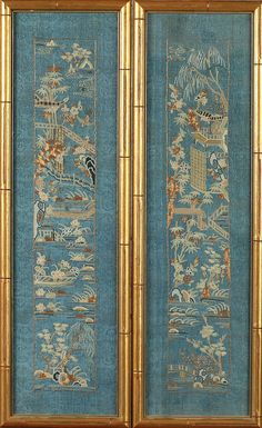 <b>PAIR CHINESE EMBROIDERED BLUE SILK KESI PANELS,</b> <i>Late 19th/ Early 20th Century.</i> Worked with Peking stitch and cauched gold tone metal thread to depict riverscape decoration, framed <i>- 21 1/2 in. x 5 1/2 in.</i>