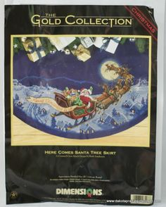 Dimensions Gold Here Comes Santa Counted Cross Stitch Christmas Tree Skirt 8598