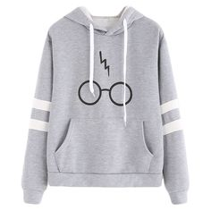 Minetom Women& Autumnn Fashion Long Sleeve Pullover Harry Potter Glasses Prints Hoodies Hooded Sweatshirt Sweater Tops Gray US 14 Harry Potter Hoodie, Mode Harry Potter, Harry Potter Glasses, Harry Potter Outfits, Harry Potter Clothing, Harry Potter Fashion, Harry Potter Things, Harry Potter Accessories, Harry Potter Merchandise