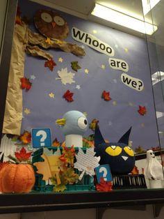 Children's book character pumpkin display.