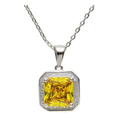 Best Silver Yellow & Sterling Silver Square Pendant Necklace With... ($19) ❤ liked on Polyvore featuring jewelry, necklaces, sterling silver necklace pendant, sterling silver necklace, silver necklace, chain necklaces and silver chain necklace