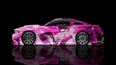 Ford Mustang GT Muscle Side Anime Girl Aerography