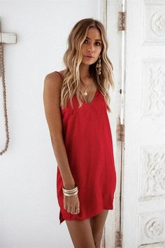 Romance Slip Dress - Dresses by Sabo Skirt Simple Red Dress, Simple Dresses, Cute Dresses, Short Dresses, Summer Dresses, Red Dress Casual, Formal Dresses, Spring Summer Fashion, Spring Outfits