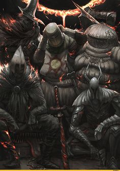 Dark Souls,фэндомы,Dark Souls 3,DS art,Solaire of Astora,DS персонажи,Abyss Watchers,DSIII персонажи,Siegward of Catarina,Ashen One,Silver Knight,mimic