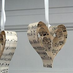 Handmade Sheet Music Heart Decoration - handmade vintage music heart decoration by re:made Sheet Music Decor, Sheet Music Ornaments, Sheet Music Crafts, Paper Ornaments, Vintage Sheet Music, Christmas Ornaments, Easy Ornaments, Music Sheets, Christmas Books