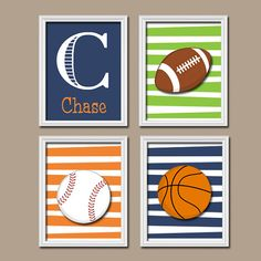 Sports Wall Art Nursery Decor Canvas Or Prints Pictures Boy Room Football Baseball Basketball Set Of 4