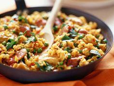 Paella met kalkoen en chorizo