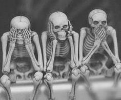 """""""See no evil. Hear no evil. Speak no evil."""" Words that are IDEAL, yet only attainable by the dead. Vanitas, Tierischer Humor, Humor Quotes, Funny Humor, See No Evil, Skull And Bones, Skull Art, Skull Decor, Skeletons"""