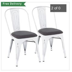 Add chic industrial farmhouse style to your dining room or kitchen with the Set of 2 Oregon Stackable Dining Chairs from LumiSource. Features weathered white metal frame with a fiddle back and padded upholstered seat. Stacks for easy storage. Farmhouse Chairs, Industrial Farmhouse, Farmhouse Style, Find Furniture, Kitchen Furniture, Dining Chair Set, Dining Room, Metal Foam, White Charcoal