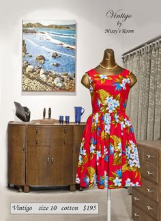 New dress, made by us in Wellington, from some bright medium weight vintage cotton (SOLD)