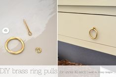 inexpensive DIY brass ring pulls for furniture. only 2 bucks!!!!!  sarah m. dorsey designs: sofa table update + diy brass ring pulls