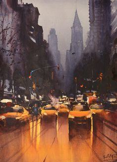 paisaje urbano Congratulations to watercolor master Alvaro Castagnet, who received a Lifetime Achievement Award at the Annual Plein Air Convention & Expo. Watercolor City, Watercolor Artists, Watercolor Landscape, Landscape Paintings, Watercolor Paintings, Watercolor Portraits, Watercolor Flowers, Oil Paintings, City Painting