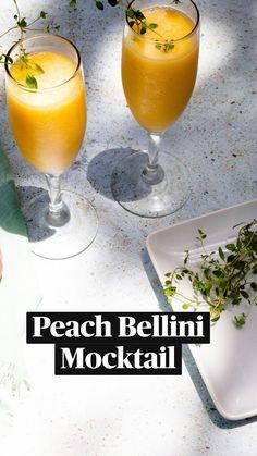 Drink Recipes Nonalcoholic, Non Alcoholic Cocktails, Alcohol Drink Recipes, Yummy Drinks, Peach Bellini Recipe, Italian Drinks, Alcholic Drinks, Dinners To Make, Summer Recipes