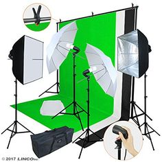 "Linco Lincostore Photo Video Studio Light Kit AM169 - Including 3 Color Backdrops (Black/Whtie/Green) Background Screen  (2) x Pheno Photography Square Studio Photo Silver Umbrella Reflector Softbox  (2) x 32"" Photo Studio White Premium Soft Umbrella  (1) x All-in-one Carrying Bag - the Whole Kit Can Be Put In  (1) x 77"" High 78"" Wide Background Support System + (1) x 5x10 Feet 3 Color Backdrop (Black/White/Green)  (4) x 77"" Feet High Zenith Light Stand : Sturdy and Lightweight + (4) x..."