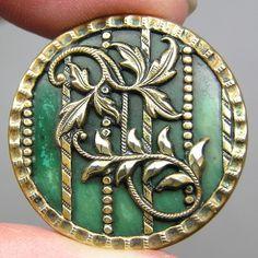 Brass & Celluloid Button w/Brass Floral Overlay