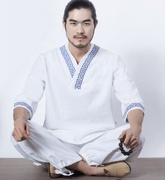 Men Fitness Suit Yoga Set Gym Clothes Cotton and Linen Meditation Clothing White Shirt and Pants with Blue Chinese Pattern Meditation Clothing, What Is Positive, Chinese Collar, White Pants, Mens Fitness, Outfit Sets, Clothing Items, Sport Outfits, Sleeve Styles