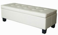 Cream Off White Leather Tufted Storage Bench Ottoman