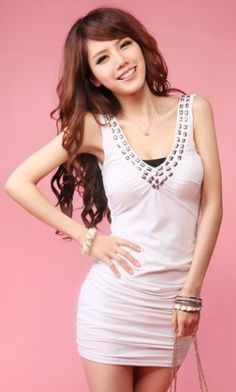 #SheInside White V Neck Sleeveless Rhinestone Bodycon Dress - Sheinside.com