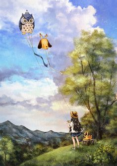 Let's fly a kite. Let's fly it higher and higher, so that it can touch the clouds.