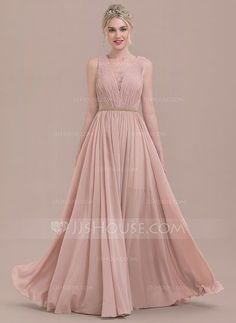 A-Line/Princess V-neck Floor-Length Chiffon Lace Bridesmaid Dress With Ruffle Beading (007116665)