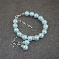 Light Robin Egg Blue Shell Pearls Bridal Jewelry Set from EarringsNation