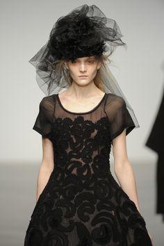 #JohnRocha #AW13 #catwalk #readytowear #LFW #london #black #fashion #style #closeup #detail #embroidery