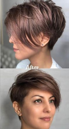 Hair Beauty - haircut,hairstyle-Stylish Easy Pixie Haircut for Women - Cute Short Hairstyle Ideas shorthairidea. Short Hairstyles For Thick Hair, Very Short Hair, Short Pixie Haircuts, Short Hair Cuts For Women, Hairstyles Haircuts, Short Hair Styles, School Hairstyles, Pixie Cuts For Round Faces, Short Summer Haircuts