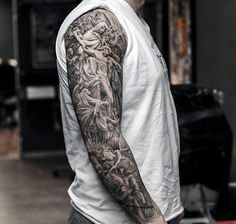 50 jesus sleeve tattoo designs for men - religious ink ideas Hals Tattoo Mann, Tattoo Arm Mann, Tattoo Hals, Full Sleeve Tattoos, Tattoo Sleeve Designs, Arm Tattoos, Tattoo Designs For Women, Angel Sleeve Tattoo, Realistic Tattoo Sleeve
