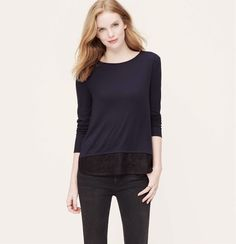 Ann Taylor Loft Top in Navy/Black