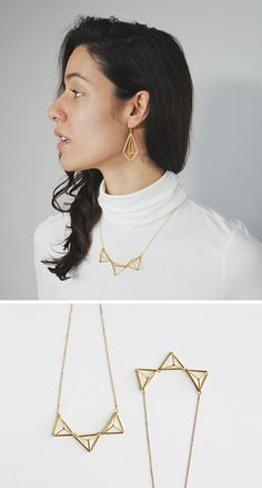 Traditional himmelis inspired this geometric necklace that looks great paired with other himmeli-inspired jewelry or on it's own. Geometric Necklace, Geometric Jewelry, Square Earrings, Stud Earrings, Black Rectangle, Simple Earrings, Minimalist Earrings, Collar Necklace, Necklace Designs