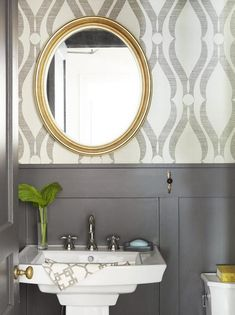 Rosa Beltran Design: FAVORITE WALLPAPERS AND SCONCE LIGHTING FOR A UNIQUE POWDER ROOM