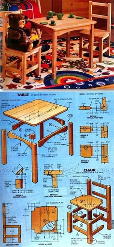 Kids Table and Chair Set Plan - Children's Furniture Plans and Projects - Woodwork, Woodworking, Woodworking Tips, Woodworking Techniques Woodworking Furniture Plans, Beginner Woodworking Projects, Diy Woodworking, Diy Kids Furniture, Diy Playhouse, Easy Wood Projects, Wood Plans, Construction, Play Houses