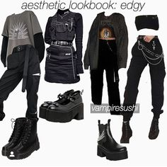 Swag Outfits For Girls, Edgy Outfits, Cute Casual Outfits, Grunge Outfits, Girl Outfits, Egirl Fashion, Kpop Fashion Outfits, Cute Fashion, Korean Fashion