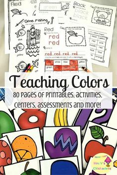 Teaching Colors Unit: Preschool & Kindergarten. Activities for students to learn how to read and identify colors. The 80 page unit includes a variety of worksheets, hands on center activities, color wall posters, color flashcards and a color assessment.
