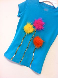 Dr. Seuss The Lorax Truffula Trees girls shirt in turquoise. via Etsy.