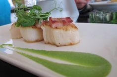 Local Pan Seared Scallops with Pea Puree and Pancetta at Ocean Bay, Swanage. My favourite seafood restaurant in Dorset
