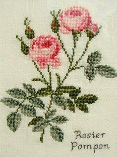 Gül Tiny Cross Stitch, Easy Cross Stitch Patterns, Simple Cross Stitch, Cross Stitch Flowers, Cross Stitch Designs, Cross Stitch Embroidery, Embroidery Patterns, Hand Embroidery, Crochet Bedspread
